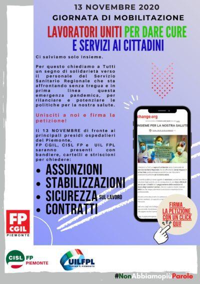 Domani 13 novembre la mobilitazione di Fp Cgil, Cisl Fp, Uil Fpl a sostegno degli operatori sanitari. Lanciata anche petizione