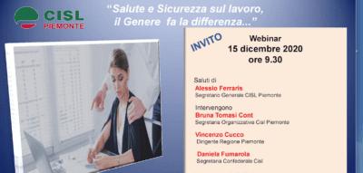 """Martedì 15 webinar Cisl Piemonte: """"Salute e sicurezza nei posti di lavoro, il Genere fa la differenza…"""""""