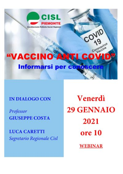 Vaccinazione anti-covid, informarsi per conoscere: l'iniziativa del Coordinamento Politiche Sociali Cisl Piemonte