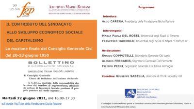 """Ferraris domani al webinar della Fondazione Pastore """"Il contributo del sindacato allo sviluppo economico sociale del capitalismo"""""""