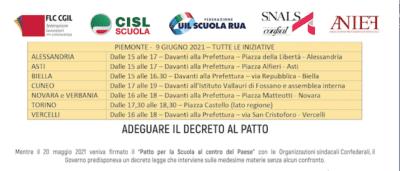 Scuola in piazza il 9 giugno in tutto il Piemonte contro il Decreto Sostegni bis