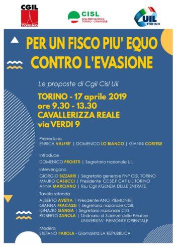 """""""Per un fisco più equo, contro l'evasione"""": mercoledì 17 il convegno di Cgil Cisl Uil Torino"""