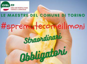 """Cisl Fp: """"Le maestre del Comune di Torino spremute come i limoni"""""""