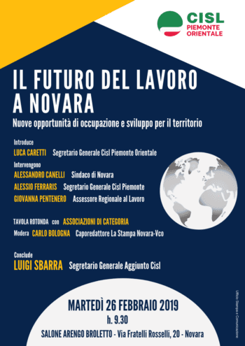 Lavoro: convegno Cisl a Novara con il segretario generale aggiunto Luigi Sbarra