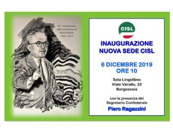 Borgosesia: il 6 dicembre inaugurazione nuova sede Cisl e concorso per le scuole sulla figura di Giulio Pastore