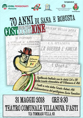 70 anni di sana e robusta Costituzione: spettacolo teatrale a Villanova d'Asti