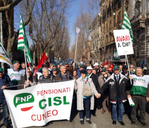 Pensionati Cuneo in corteo